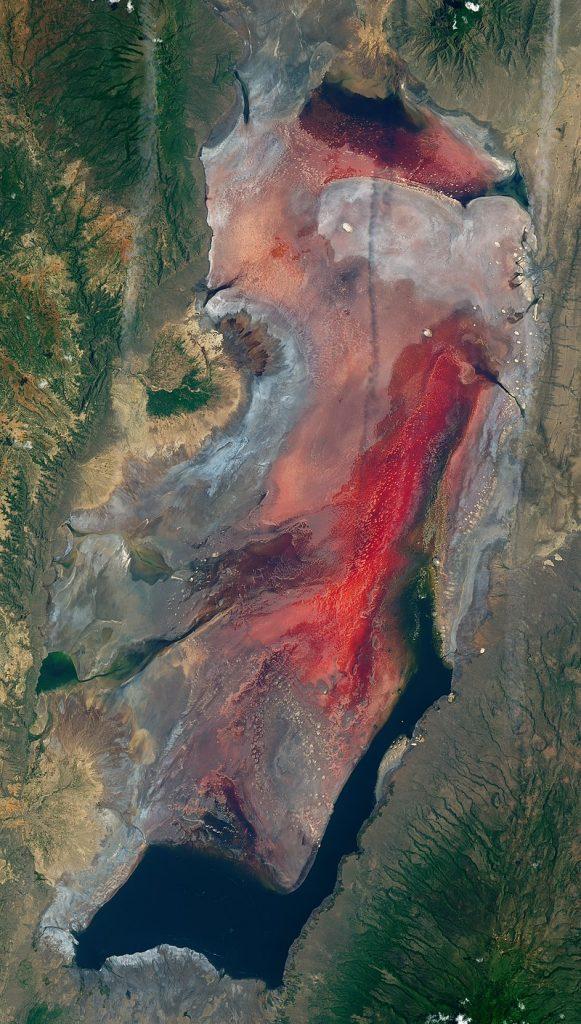 Vue satellite du lac natron